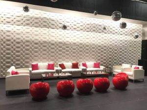 ottomans and lounge furniture at conference