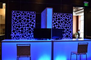 LED bars and panels set up at conference