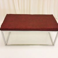 silver-frame-red-fabric-ottoman