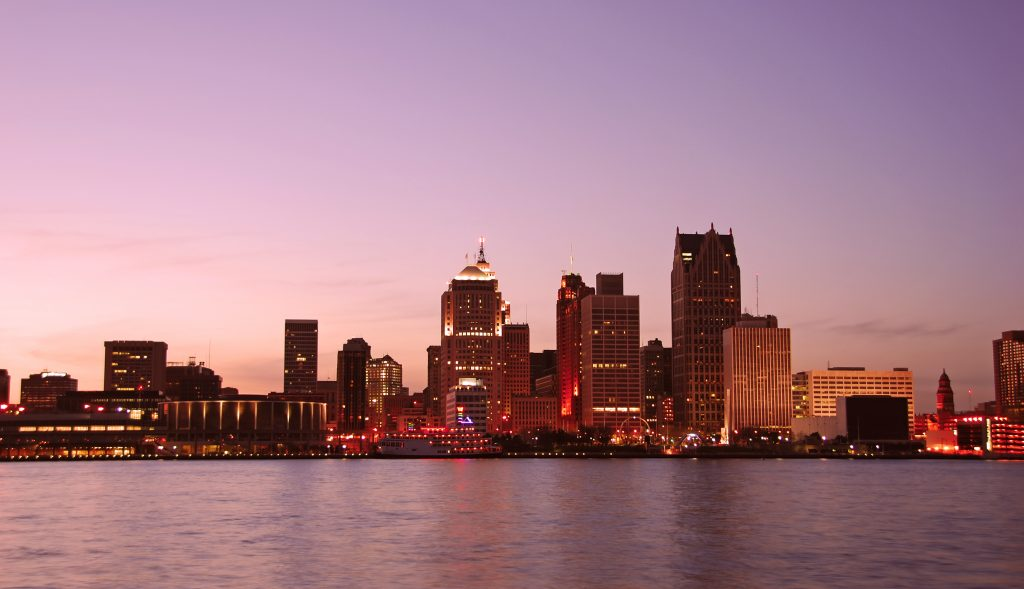 Sunset over Detroit as seen from Windsor Ontario