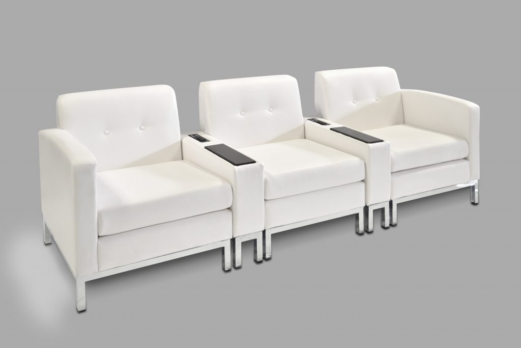 white modular charging sofa rental